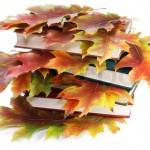 Books with golden autumn leaves