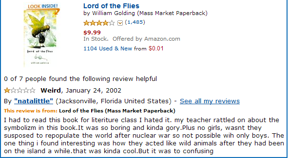 least helpful lord of the flies