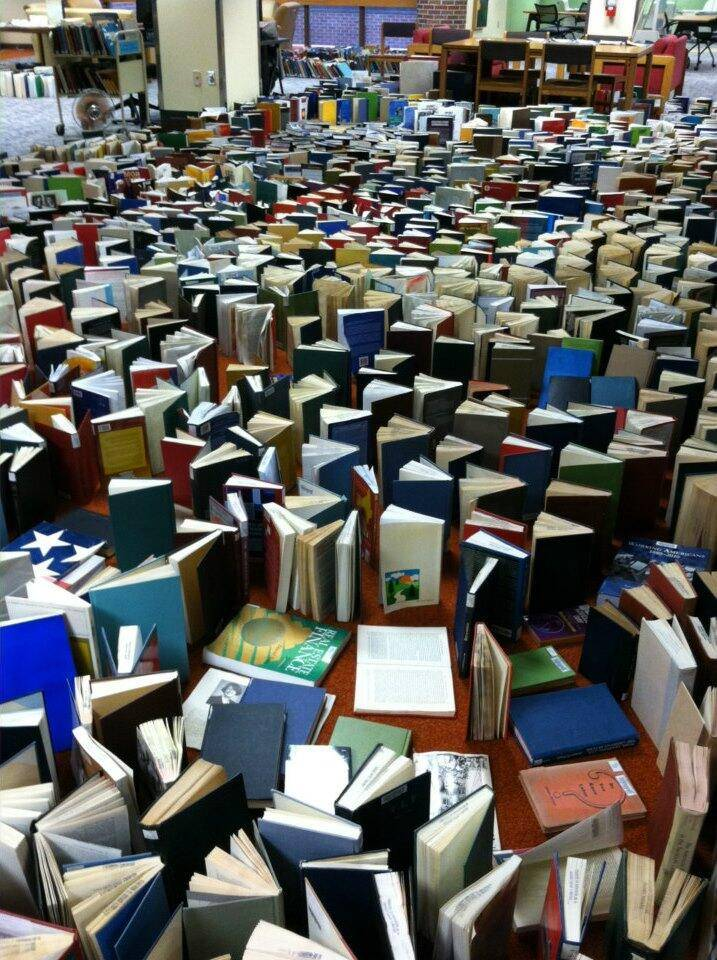 Books set out to dry at the University of Nebraska-Kearny library.