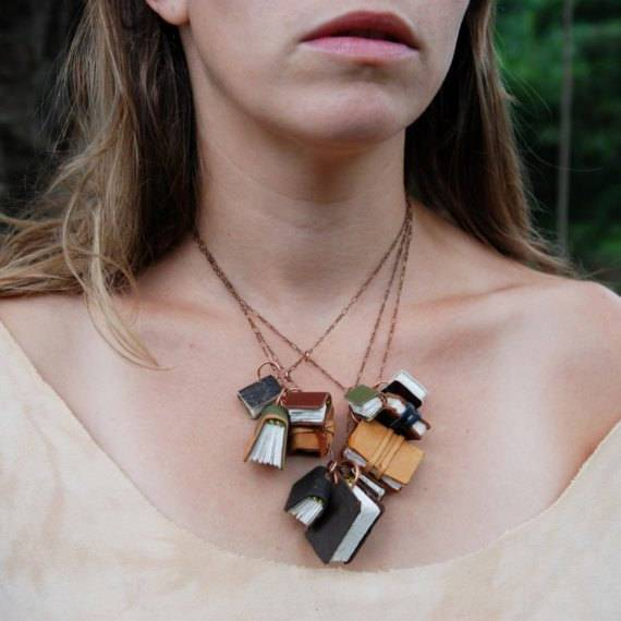Autumnal Library Book Necklace, from Peg and Awl.