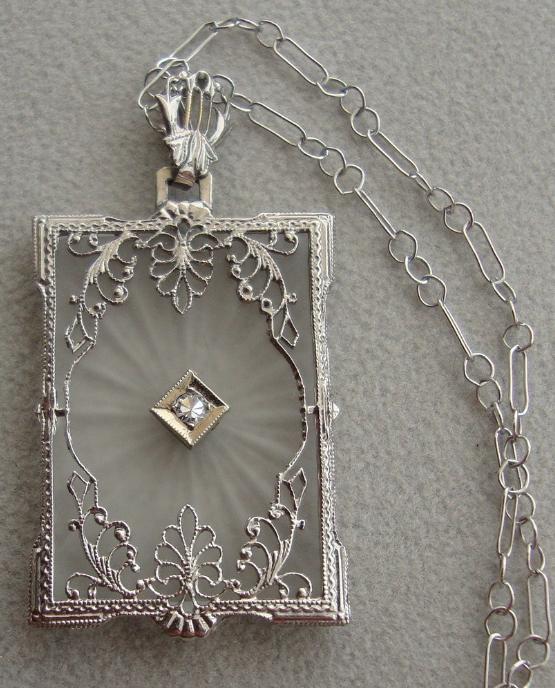 Art Deco camphor glass and diamond pendant