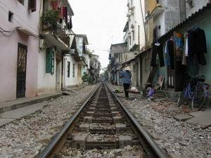 Railway through Hanoi