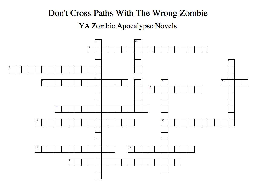 YA Zombie Crossword Puzzle