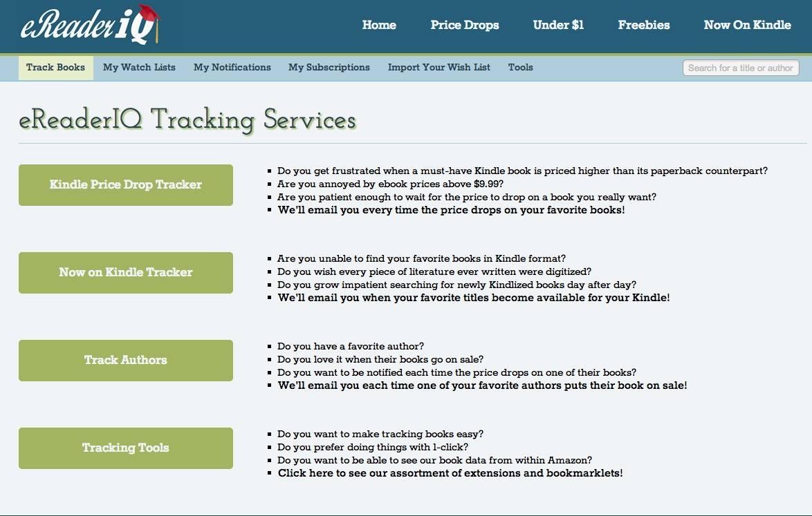 Track Kindle EBook Bargains with eReaderIQ