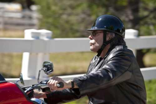 Mr. King looking badass on a Harley Road Glide