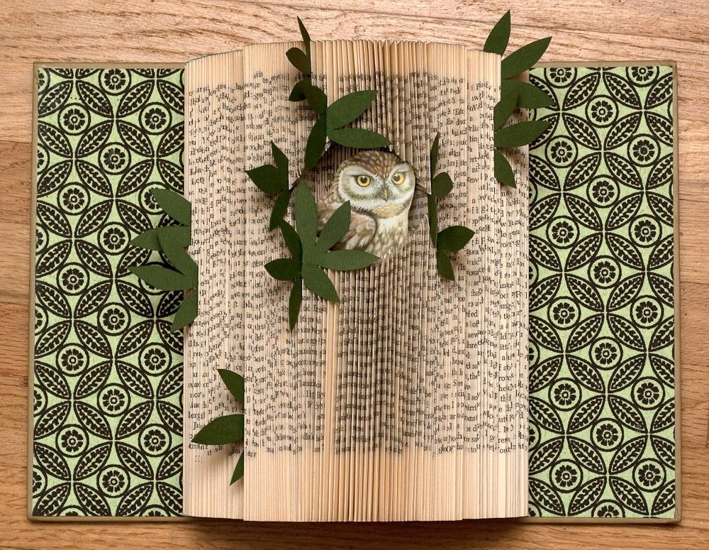 "Book art from Rachael Ashe's ""Altered Books: Owls"" collection"