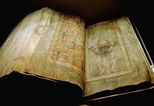Codex gigas, or The Devil's Bible. The Heavenly City (289 v.) and the Devil (290 r).