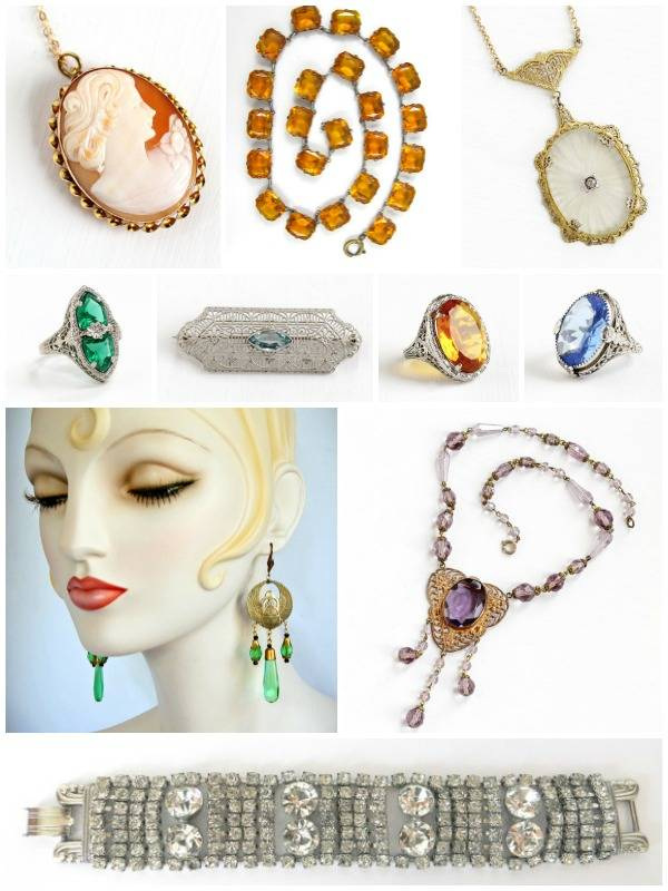 A glorious selection of Art Deco jewelry - a cameo, Czech glass earrings, a rhinestone bracelet, and a several lovely pieces of filigree - all perfect for your Phryne Fisher Halloween costume