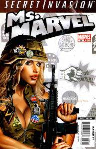 Ms. Marvel in booby camouflage top, blowing on assault rifle