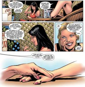 """Carol talks to Jessica Drew (Spider-Woman), who asks if """"this is a Carol thing"""""""