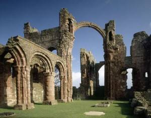 The ruins of Lindisfarne Priory are from the reestablishment period in the 12th century.