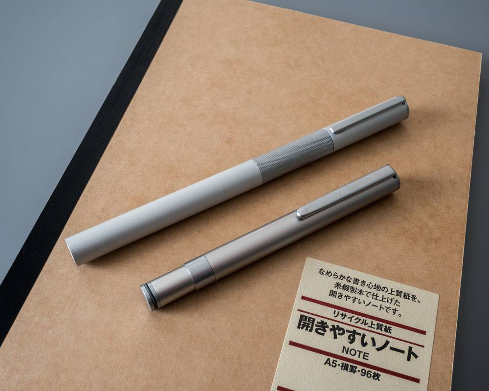 Muji planner and pens