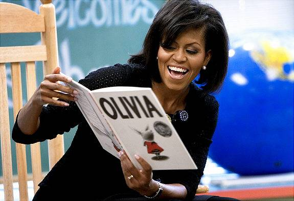 Michelle Obama reads to children at the ODU Child Study Center.
