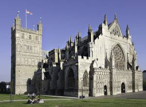 Exeter Cathedral. The current structure was completed c. 1400 and was partially destroyed during World War II.