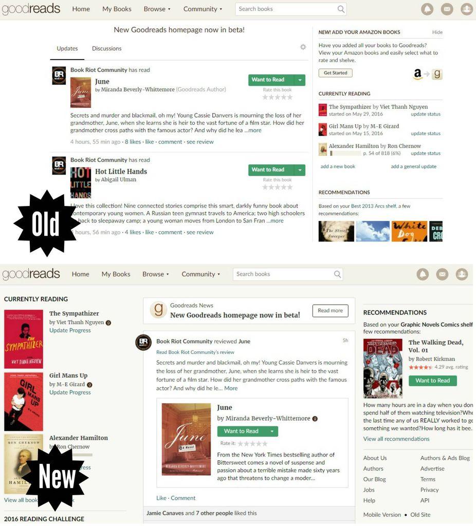 Goodreads Old vs New