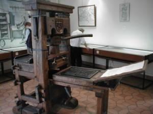 Replica of Gutenberg's printing press.