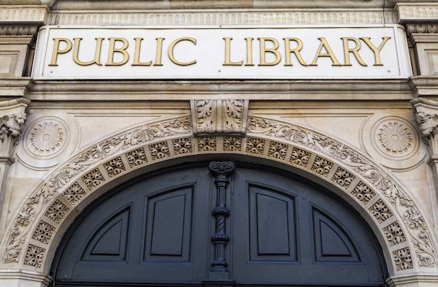 Public Library sign on the former Holborn Public Library in London.