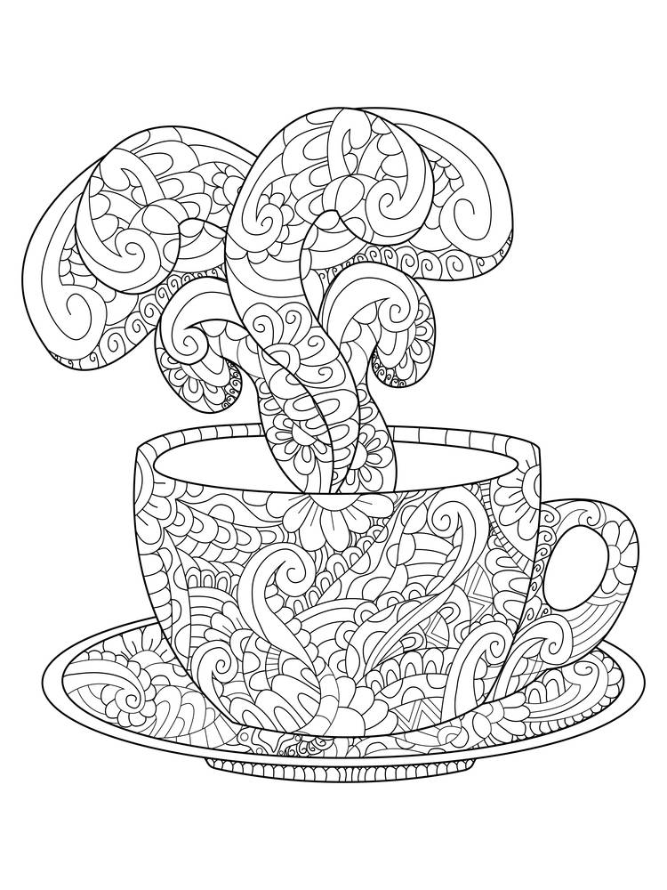 Zen art cup with hot steam. Zentangle style for the adult antistress coloring book on white background. Hand drawn zendoodle. Vector illustration. Adult coloring page teacup floral ornament.