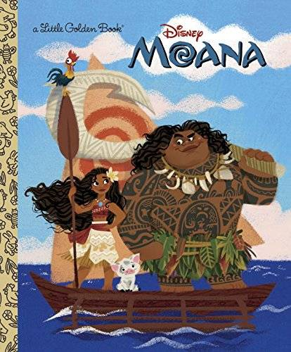 Moana Little Golden Book cover with moana and maui on a boat in the ocean