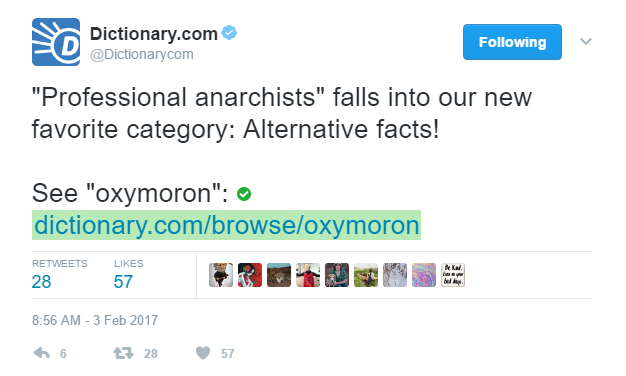 "Dictionary.com tweet with definition of ""oxymoron"""