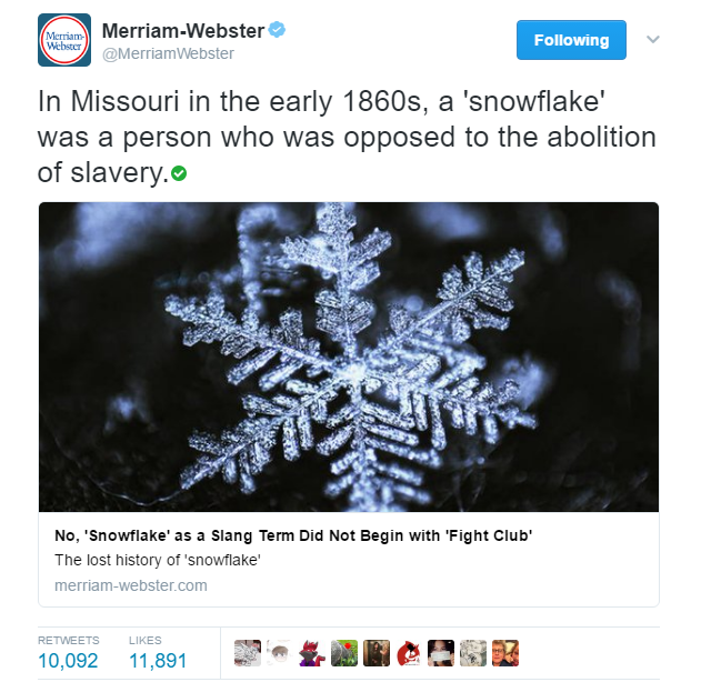 "Merriam-Webster tweet with history of the term ""snowflake"""