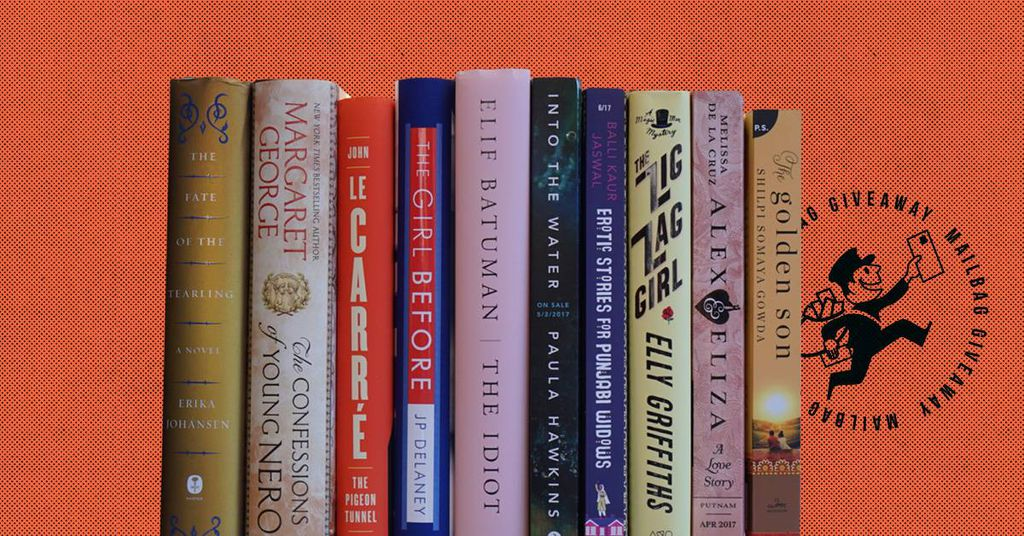 image of stack of books, including: The Fate of the Tearling; Confessions of Young Nero; The Pigeon Tunnel; The Girl Before; The Idiot; Into the Water; Erotic Stories for Punjabi Widows; The Zig Zag Girl; Alex and Eliza; The Golden Son