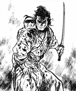 Ogami and Daigoro from Lone Wolf and Cub. Art by Koseki Gojima. Dark Horse.