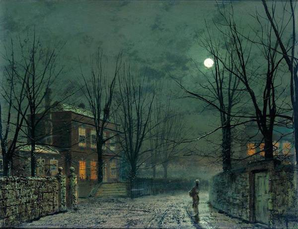 The Old Hall Under Moonlight by John Atkinson Grimshaw