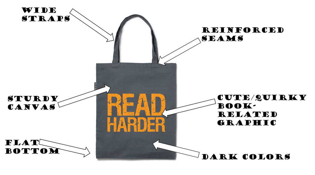 gray read harder tote bag