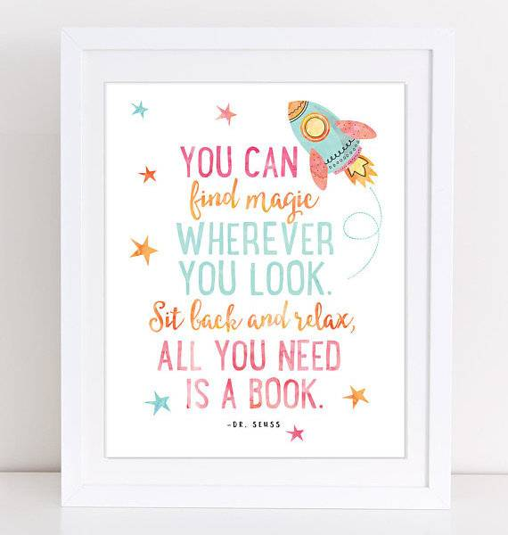 Books in Space! Dr. Seuss Space Print
