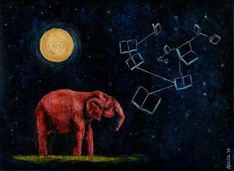 Books in Space! Elephant Book Constellation Print