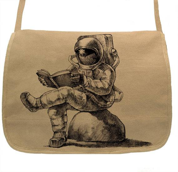 Books in Space! Astronaut Reading Book Tote