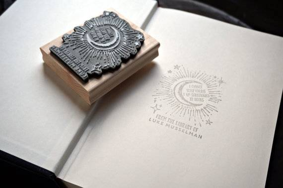Books in Space! Moon Bookplate Stamp