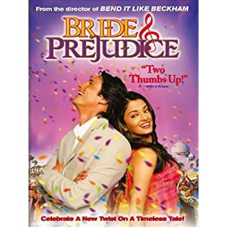 Cover of movie Bride and Prejudice, featuring a couple back-to-back with confetti in the background