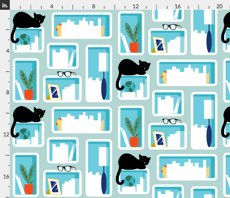 Fabric Bookshelves with Cats and Glasses
