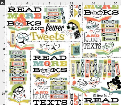 Read More Books and Fewer Tweets Fabric