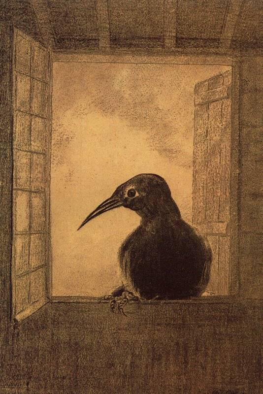 """In there stepped a stately raven."" 1882 Odilon Redon illustration of The Raven 
