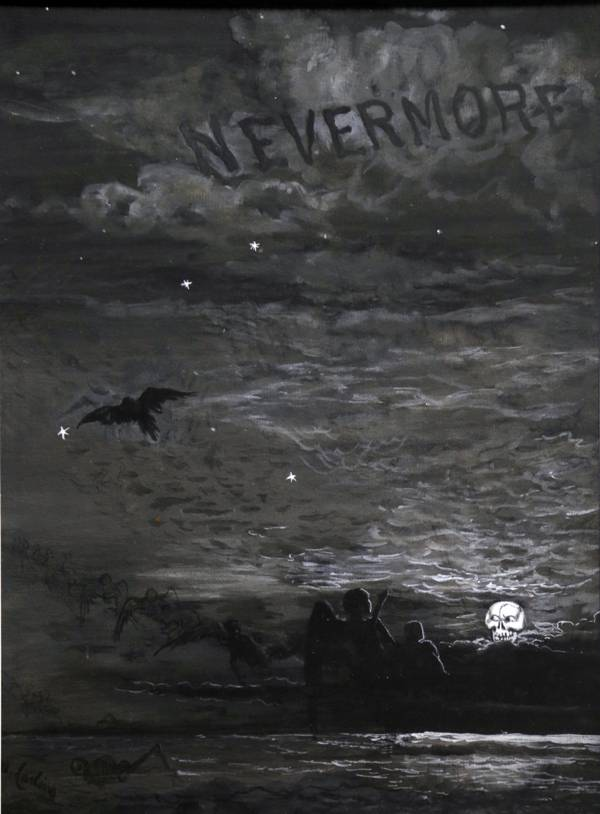 """Nevermore"" 1883-87 James Carling illustration of The Raven 