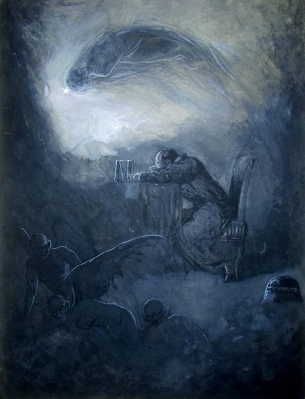 """Once upon a midnight dreary"" 1883-87 James Carling Illustration of The Raven 
