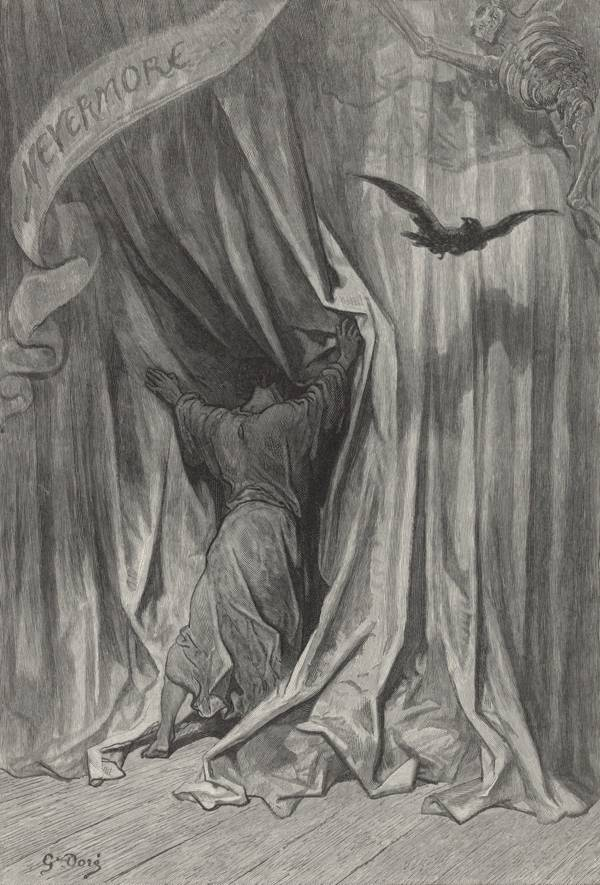 """And the silken, sad, uncertain rustling of each purple curtain"" 1883 Gustave Doré illustration of The Raven 