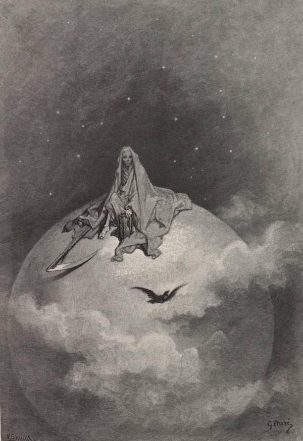 """Dreaming dreams no mortal ever dared to dream before"" 1883 Gustave Doré illustration of The Raven 