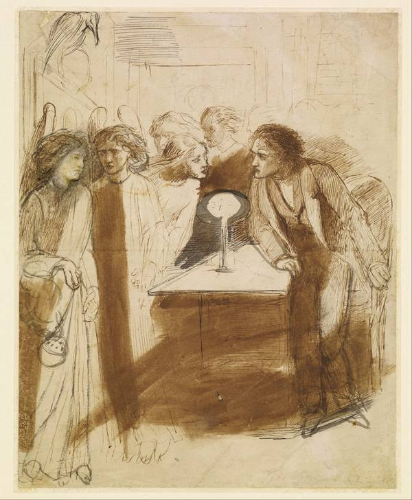 """Angel Footfalls"" 1847 Gabriel Rossetti illustration of The Raven 