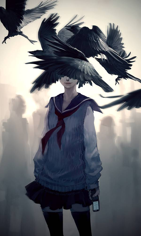 """Nevermore"" yuumei illustration of The Raven 