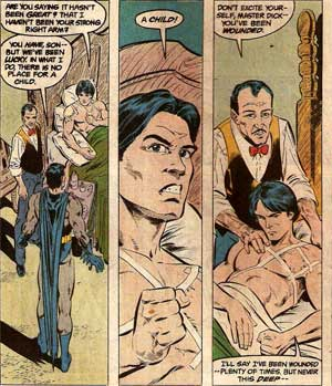 Batman talks to a wounded Dick Grayson and tells him he's no longer Robin.