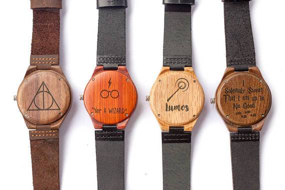 Wizarding World of Harry Potter Engraved Wooden Watches