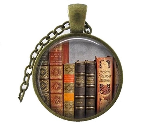 Library Book Necklace