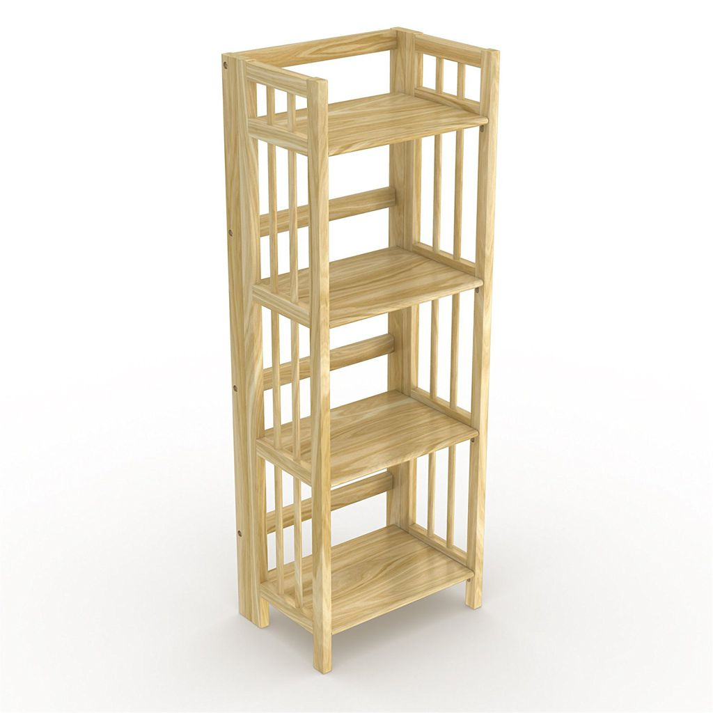 Stony-Edge No-Assembly Vertical Folding Bookcase with Four Shelves