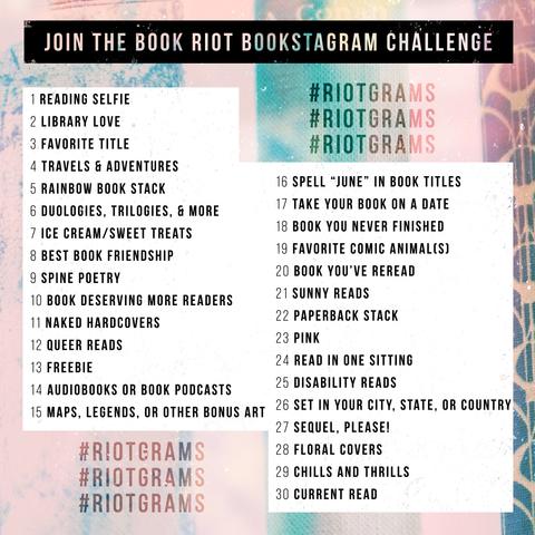 Book Riot Instagram Challenge #Riotgrams June 2018