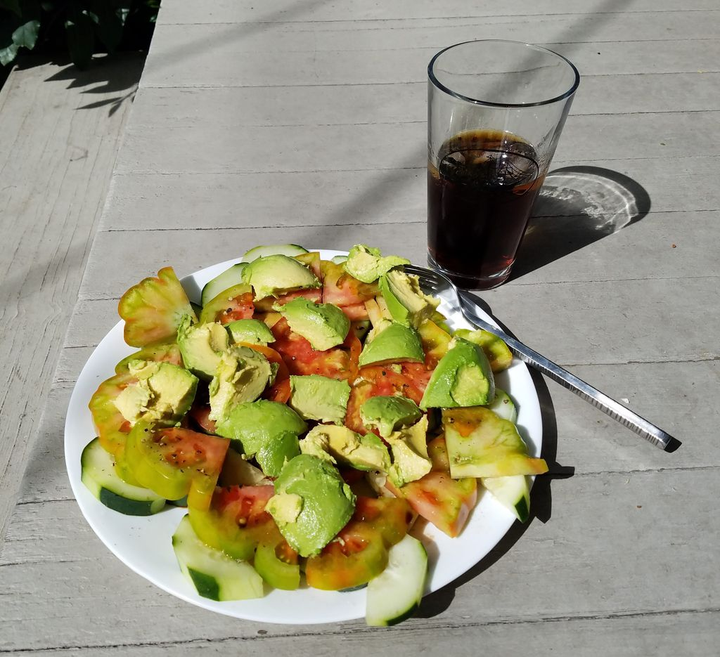 Avocado Salad with Heirloom Tomatoes and Cucumber from Salt, Fat, Acid, Heat by Samin Nosrat
