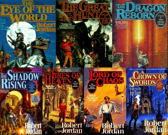 Covers for the first six WHEEL OF TIME books by Robert Jordan